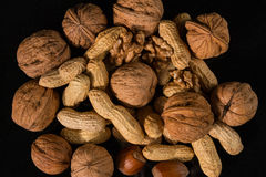 Nuts. Different types of nuts royalty free stock photography