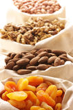 Nuts and dried apricots Stock Image