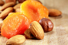 Nuts And Dried Apricots Royalty Free Stock Photography