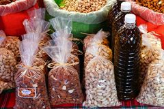Nuts and Dried Beans at Greek Market Stock Image