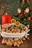Nuts and dried figs (at Christmas) Stock Photo