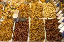 Nuts, dried food and Caramelized almond. Barcelona market Stock Image