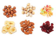 Nuts and dried fruit Stock Photography
