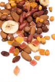 Nuts and dried fruit. Isolated on white Stock Photography