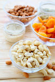 Nuts and dried fruit in assortment Royalty Free Stock Images