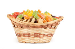 Nuts and dried fruit in a basket Stock Photos