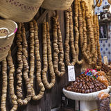 Nuts and dried fruit for sale in the souk of Fes, Morocco Stock Photos
