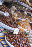 Nuts and dried fruit for sale in the souk of Fes, Morocco Royalty Free Stock Photography