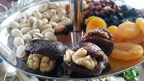 Nuts and dried fruit Royalty Free Stock Images