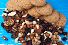 Nuts, dried fruits and biscuits Royalty Free Stock Images