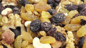 Nuts and dried fruits in bulk stock footage