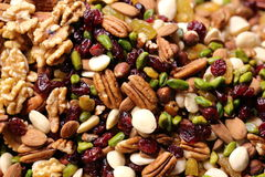 Nuts And Dried Fruits Closeup At Street Food Market Stock Photography