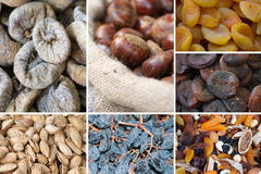 Nuts and dried fruits collage stock image