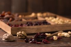 Nuts and dried fruits royalty free stock image