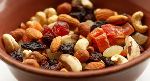 Nuts and dried fruits Stock Photos