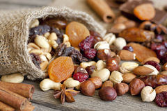 Nuts and dried fruits mix. Background Royalty Free Stock Images