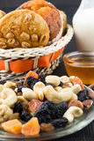Nuts and dried fruits mix and baked peanut butter cookies Stock Image