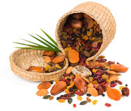 Nuts and dried fruits mix in a basket Stock Images