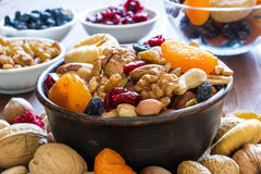 Nuts and dried fruits mix in a bowl Royalty Free Stock Photo