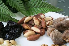 Nuts and dried fruits. Mix on the white plate Stock Images