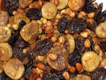Nuts and dried fruits pattern stock photos