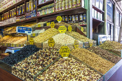Nuts and dried fruits and spices on display in the eastern market in Istanbul, Turkey. Royalty Free Stock Photography