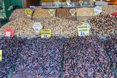Nuts and dried fruits and spices on display in the eastern market in Istanbul, Turkey. Royalty Free Stock Photos
