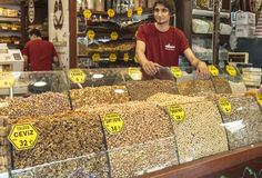 Nuts and dried fruits and spices on display in the eastern market in Istanbul, Turkey. Stock Images
