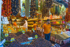 Nuts and dried fruits and spices on display in the eastern market in Istanbul, Turkey. Stock Photo