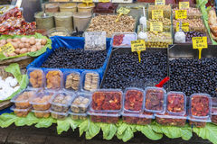 Nuts and dried fruits and spices on display in the eastern market in Istanbul, Turkey. Royalty Free Stock Images
