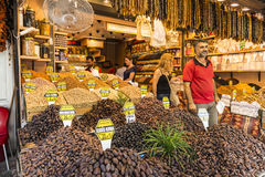 Nuts and dried fruits and spices on display in the eastern market Royalty Free Stock Photo