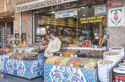 Nuts and dried fruits and spices on display in the eastern market in Istanbul, Turkey. Stock Photography