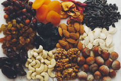 Nuts and dried fruits Royalty Free Stock Photography