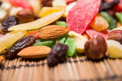 Nuts and dried fruits Royalty Free Stock Images