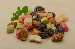 Nuts and dry fruits mix. Fresh Nuts and dry fruits mix heap royalty free stock image