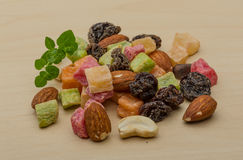 Nuts and dry fruits mix. Fresh Nuts and dry fruits mix heap royalty free stock photography