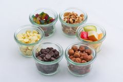 Nuts and dry fruits mix Stock Images