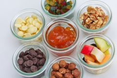 Nuts and dry fruits mix Royalty Free Stock Photos