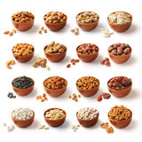 Nuts Family with Clipping Path. All kinds of nuts, dried fruits made the path to be used in the study of family Royalty Free Stock Images