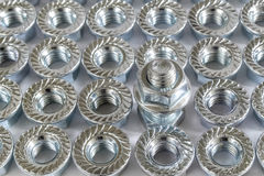 Nuts with flange. Stock Images