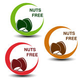 Nuts free symbols  on white background. Silhouettes hazelnuts in a circle with shadow. Stock Photography