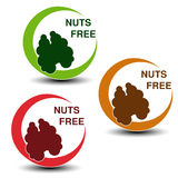 Nuts free symbols  on white background. Silhouettes walnut in a circle with shadow. Illustration Royalty Free Stock Image