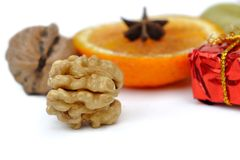 Nuts and fruit for Christmas Stock Photography