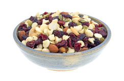 Nuts and fruit trail mix in a bowl Stock Photography
