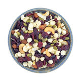 Nuts and fruit trail mix in a bowl top view Royalty Free Stock Photography