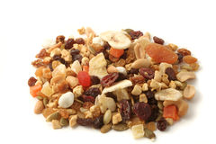 Nuts and fruits. Mixed nuts and dried fruits Stock Photos