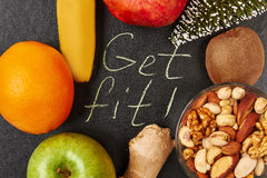 Nuts, fruits and fir-tree. Royalty Free Stock Image