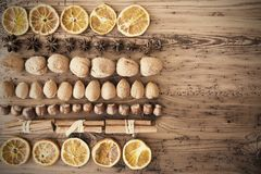 Food Flat Lay, Nuts, Copy Space, Retro Background Stock Image