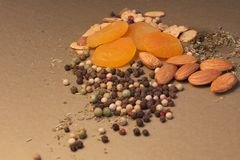 Nuts, Fruits and Spices Royalty Free Stock Photography
