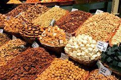 Nuts and fudge on display at a food market Royalty Free Stock Photography